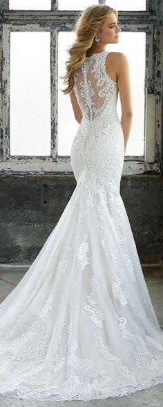Krista illusion back elegant lace wedding dress from Morilee 2018 #weddingdress