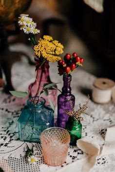 Jewel-toned vintage glassware + fall flowers | Image by Swak Photography