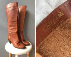 Vintage 1970s Catleia High Tan Leather Boots Size 38  #etsy #shoes #vintageboots #catleia #tanboots #leatherboots #vintageleatherboots #bohoboots #catleiaboots #tanleatherboots Tan Leather Boots, Tan Boots, Boho Boots, Winter Skirt, Vintage Boots, Knee High Boots, Boho Dress, Riding Boots, 1970s