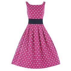 'Lana' Pink White Polka Dot Swing Dress | Vintage Dresses - Lindy Bop