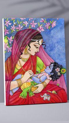 Madhubani Art, Madhubani Painting, Canvas Painting Tutorials, Diy Canvas Art, Krishna Painting, Krishna Drawing, Arte Krishna, Art Painting Gallery, Indian Art Paintings