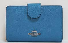 コーチ 財布 レディース 52336SVPC クロスグレイン レザー ジップ アラウンド コンパクト 二つ折り財布 青