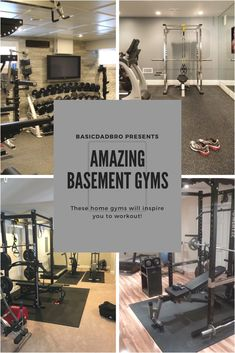 It's easy to take advantage of the extra space in your house to create an amazing basement gym!Save money and time by skipping the expensive gyms and build your ideal gym just steps away in the basement! Low Ceiling Basement, Home Gym Basement, Diy Home Gym, Gym Room At Home, Home Gym Decor, Modern Basement, Basement Remodeling, Basement Ideas, Basement Walls