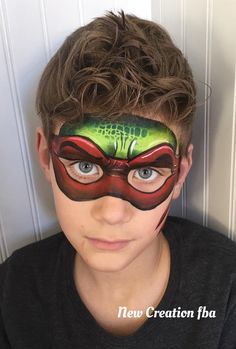 One stroke deluxe Ninja Turtle by Jenn Sweeney Superhero Face Painting, Face Painting For Boys, Face Painting Tips, Face Painting Tutorials, Face Painting Designs, Face Paintings, Ninja Turtle Face Paint, Ninja Turtles, Body Painting Pictures