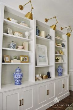Built ins with lights. Sita Montgomery Interiors: My Home Office Makeover Reveal Muebles Living, Bookshelves Built In, Book Shelves, Built In Shelves Living Room, Large Bookcase, Bookshelves In Living Room, Tv Shelf, Built In Cabinets, Handmade Home Decor