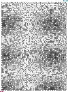 Level 5 von 5 - schwer; Alter: ab 12 Jahre; Mazes to Print - Mega Crossover Mazes