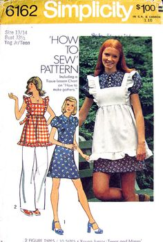 I had the dress! My mother made it!!! 70s Pattern ~ I bought this pattern and made the dress and pinafore that the girl in the picture is wearing in Home Ec. class in high school....and out of identical fabric. Talk about a memory!