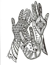 Zentangled hands~have each student Zentangle their hand and create a class collage.