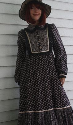 Vintage 70s Gunne Sax Dress Black Floral Print Cotton by soulrust, $79.99