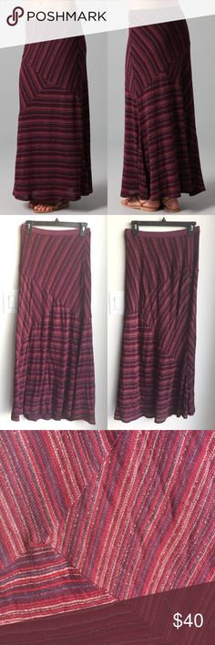 """🆕Ella Moss Luxe Maxi Skirt Authentic Ella Moss striped jersey maxi skirt. Features metallic accents and an elastic waistband. Lined in super soft modal/cotton fabric. Shell: 98% rayon/2% lurex. Excellent condition, worn one time. Size small, approx 14.5"""" across waistband (unstretched), approx 37"""" long. Model photos credit Shopbop. ❌No trades❌Price firm unless bundled. Ella Moss Skirts Maxi"""