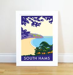 vintage style seaside poster of south hams by becky bettesworth | notonthehighstreet.com