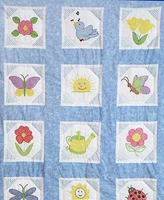 Themed Stamped White Quilt Blocks Garden: Each package contains 12 blocks. preprinted cross stitch and embroidery design on cotton/poly broadcloth. Approximate size of each block is Approximate finished size x Embroidery Store, Embroidery Kits, Cross Stitch Embroidery, Embroidery Designs, Cross Stitch Supplies, Cross Stitch Kits, Cross Stitch Patterns, Craft Online, Cross Stitch Alphabet