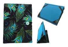 Stunning Peacock Feather Cover for any iPad, Kindle, or Nook!   Completely handmade by me with pride, skill, and careful attention to detail.  *Lined with two layers of interfacing for shape, padding, and durability * Double stitched seams for durability * Cover folds into 2 different angle stands * Outside covers fold back (like a paperback book) to hold in your hands.  **Click on the photo or go to www.etsy.com/shop/LisasBagstoRiches to learn more or to make a purchase!