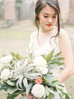 Romantic bridal inspiration amongst the Old Sheldon Church Ruins in South Carolina by Ivory & Bliss Flower Bouquet Wedding, Flower Bouquets, Green Organics, Bridal Shoot, Air Plants, South Carolina, Floral Design, Romantic, Bliss