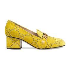 0fd9c806d00 Sylvie GG velvet mid-heel loafer - Gucci Women s Heeled Loafers  890