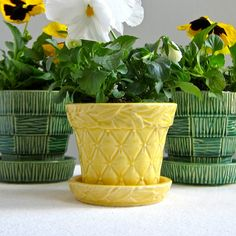 McCoy Pottery Flower Pot  Small Yellow by BarkingSandsVintage