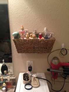 Cheap Way To Organize A Small Bathroom. Dollar Store Basket, 2 Command Hooks .