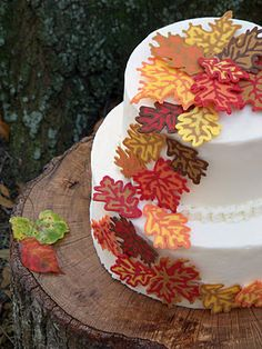 Autumn Leaves Cake, DIY how to make the beautiful leaves