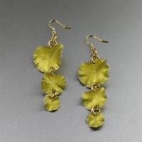 Three Tiered Yellow Anodized Aluminum Lily Pad Earrings. Lavish and Lustrous Blooms    http://www.johnsbrana.com/three-tiered-yellow-anodized-aluminum-lily-pad-earrings.html  $75.00