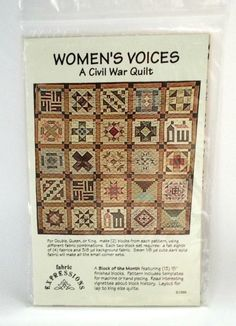 Womens Voices Civil War #Quilt Pattern Double Queen King Fabric Expressions Complete Set 1 - 13 New in Package #historical