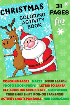 Get kids excited for the holidays with our new Free Printable Christmas Coloring Activity Book. 31 Pages of fun including Mazes, Crossword, Coloring Pages, Cute Photo Booth Props, Baby's First Christmas Iron-On Transfer, Elf Adoption Certificate, Christmas Coloring Pages, Santa Sack Label and lot more! KidsPartyWorks.com Christmas Colors, Christmas Fun, Holiday Fun, Printable Activities For Kids, Free Christmas Printables, Christmas Coloring Sheets, Color Activities, Babies First Christmas, History