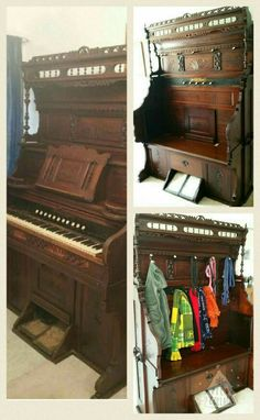 A 1880s pump organ repurposed into an entry bench/coat rack. The bench opens for additional storage.