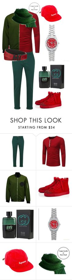 """Red & Green."" by nimeda ❤ liked on Polyvore featuring Topman, Christian Louboutin, Gucci, Rolex, Supreme, MCM, men's fashion, menswear, contest and outfit"