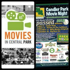 FREE Movies:  Free Movies in Central Park in Atlantic Station  tonight August 6 Ferris Bueller's Day Off will be showing  Movies starts at dusk, with activities planned before each film.   Candler Park Movie Nights:  Movies start around dusk in front of the pool house. Movie nights subject to change due to weather or park needs.  Movie festivities start one hour prior to dusk in front of the pool house.