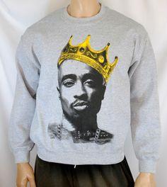 Tupac Shakur King Crown Mens Sweatshirt Crewneck Sweater Hip-Hop NWA 2pac #Gildan #SweatshirtCrew