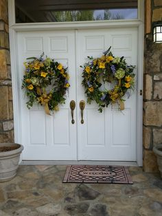 Spring Tulip Wreath Country Shabby Chic Double Door Wreaths