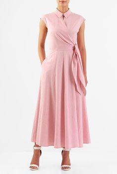 I <3 this Side ties cotton seersucker stripe maxi dress from eShakti