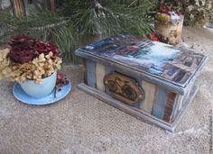"""Купить Короб-шкатулка для сладостей """"...а в Москве снег..."""" - голубой, короб для хранения"""
