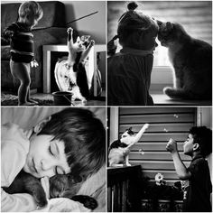 Cute photos of children who play with cats