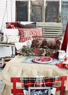 Rustic Christmas Pillow Wool Plaid