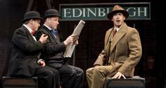 Rob Whitcomb as Man 1, Andrew Hodges as Man 2 and Richard Ede as Richard Hannay in The 39 Steps