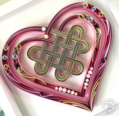 Heart Wall Decor Celtic Quilling - 3d Paper Art home decor Pink