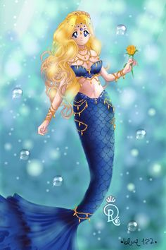 Lapis Lazuli Mermaid by ~ Sailor Moon Dress Up Mermaid Drawings, Mermaid Images, Disney Princess Tattoo, Anime Mermaid, Cute Galaxy Wallpaper, Fantasy Figures, Fairy Art, Mermaid Art, Rainbow Mermaid