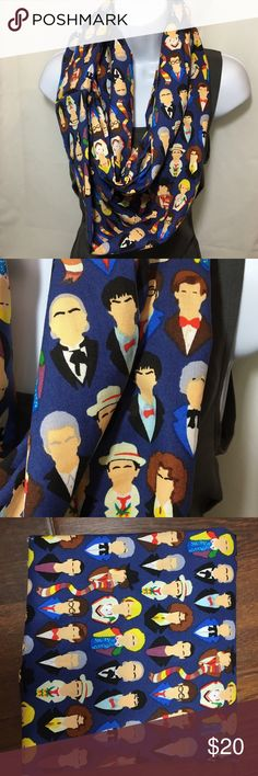 Faces of Doctor Who Fabric Infinity Scarf A great scarf for any Doctor Who fan! It shows all the faces of Doctor Who, past and present. This is made of 100% cotton fabric. Accessories Scarves & Wraps