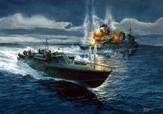 Lancha PT ataca un crucero japones.