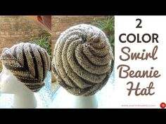 Two Color Swirl Hat - Knitted Swirl Hat - Spiral Beanie 2 Colors - YouTube