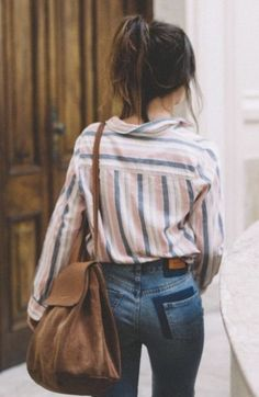Striped Button Down Shirt + High-Waisted Jeans + Brown Leather Backpack - Women's Fashion