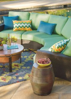 Brighten up your backyard appearance with a few fun colors and prints.