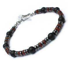 New BRACELET Homme Perles pierre Natural Jasper/Jaspe rouge  Agate/onyx mat noir hématite fermoir mousqueton Métal inoxydable/inox P118 de la boutique 1000ola sur Etsy