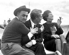 Federico Fellini, Marcello Mastroianni,& Sophia Loren.