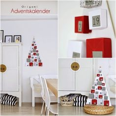 Calendario de adviento con cajas de cartón