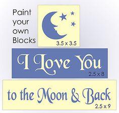STENCIL Love You Moon Back Nursery Baby Primitive Story Book Bedroom Sign Blocks
