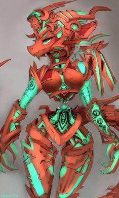 Dragon Mech by Kameloh Fantasy Character Design, Character Art, Robot Dragon, Anthro Dragon, Monster Girl Encyclopedia, Female Monster, Arte Robot, Alien Girl, Anime Monsters