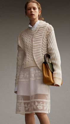 Panelled Cashmere, Cotton and Wool Sweater Natural White | Burberry