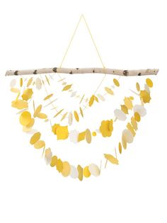 Brides: Whimsical Yellow Paper Mobile Decor. Hang this paper mobile in your reception entryway or use it as a portrait-station backdrop.