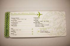 Plane Ticket Invitations, Passport Programs, and Luggage Tag Escort Cards